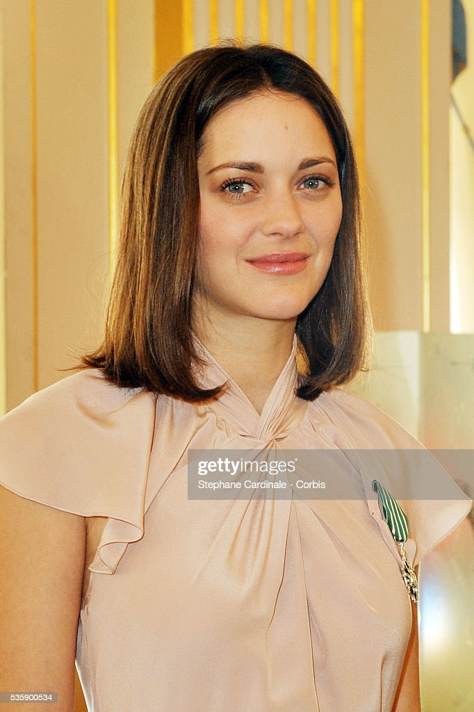 Marion Cotillard after being awarded Chevalier in the Order of Art and Letters, at the Department of Culture in Paris.