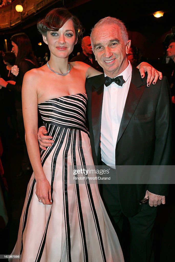 Marion Cotillard (L) and Alain Terzian, President of the Cesar Awards Academy, pose prior to the Cesar Film Awards 2013 at Theatre du Chatelet on February 22, 2013 in Paris, France.