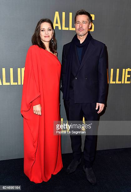 Marion Cotillard and Brad Pitt attend the Paris premiere of the Paramount Pictures title 'Allied' on November 20 2016 at Cinema UGC Normandie on...