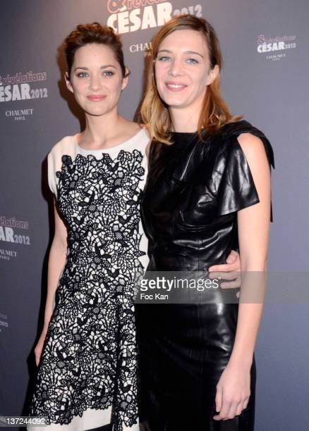 Marion Cotillard and Celine Sallette attend the dinner arrivals for Cesar's Revelations 2012 at Hotel Meurice on January 16 2012 in Paris France
