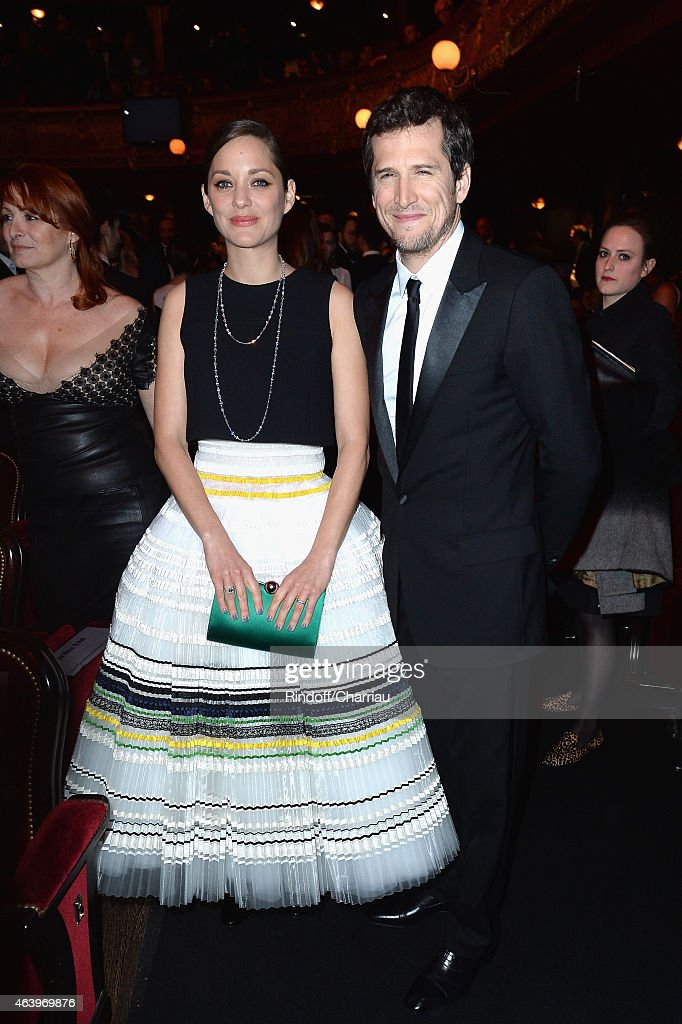 Marion Cotillard and Guillaume Canet attend the 40th Cesar Film Awards 2015 Cocktail at Theatre du Chatelet on February 20 2015 in Paris France