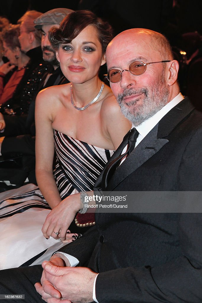 Marion Cotillard (L) and Jacques Audiard pose prior the Cesar Film Awards 2013 at Theatre du Chatelet on February 22, 2013 in Paris, France.