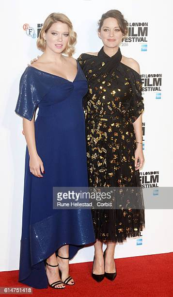 Marion Cotillard and Lea Seydoux attend the 'It's Only The End Of The World' BFI Flare Special Presentation screening during the 60th BFI London Film...