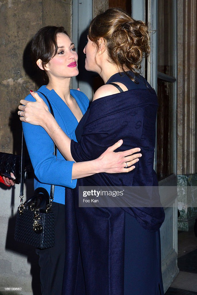 Marion Cotillard and Maud Fontenoy attend the Maud Fontenoy Foundation - Annual Gala Arrivals at Hotel de la Marine on April 9, 2013 in Paris, France.