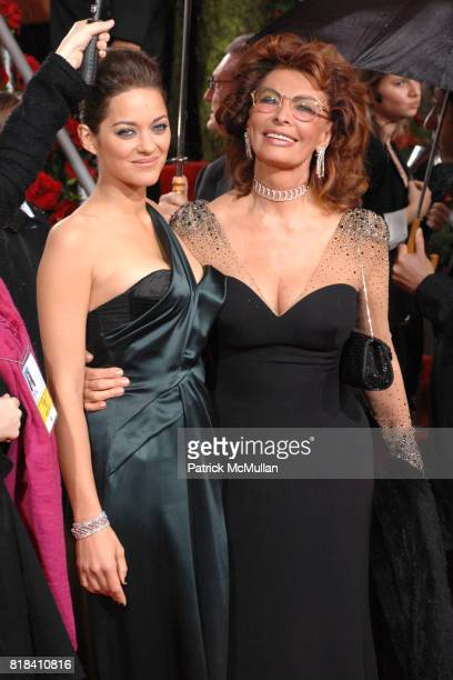 Marion Cotillard and Sophia Loren attend 67th Annual Golden Globe Awards at Beverly Hilton Hotel on January 17 2010 in Beverly Hills California