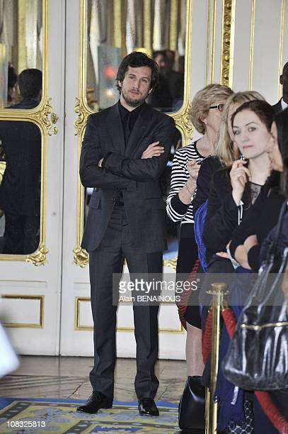 Marion Cotillard and Tim Burton awarded 'The Order of Arts and Letters' at French Culture Minister in Paris Guillaume Canet in Paris France on March...