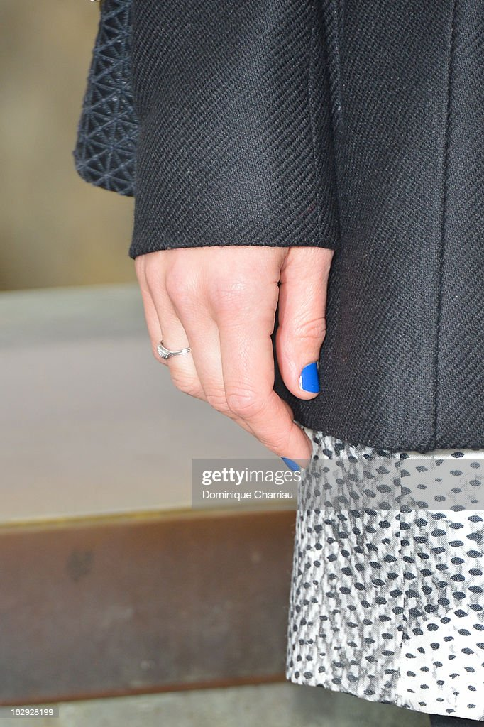 Marion Cotillard (nails detail) arrives at the Christian Dior Fall/Winter 2013 Ready-to-Wear show as part of Paris Fashion Week on March 1, 2013 in Paris, France.