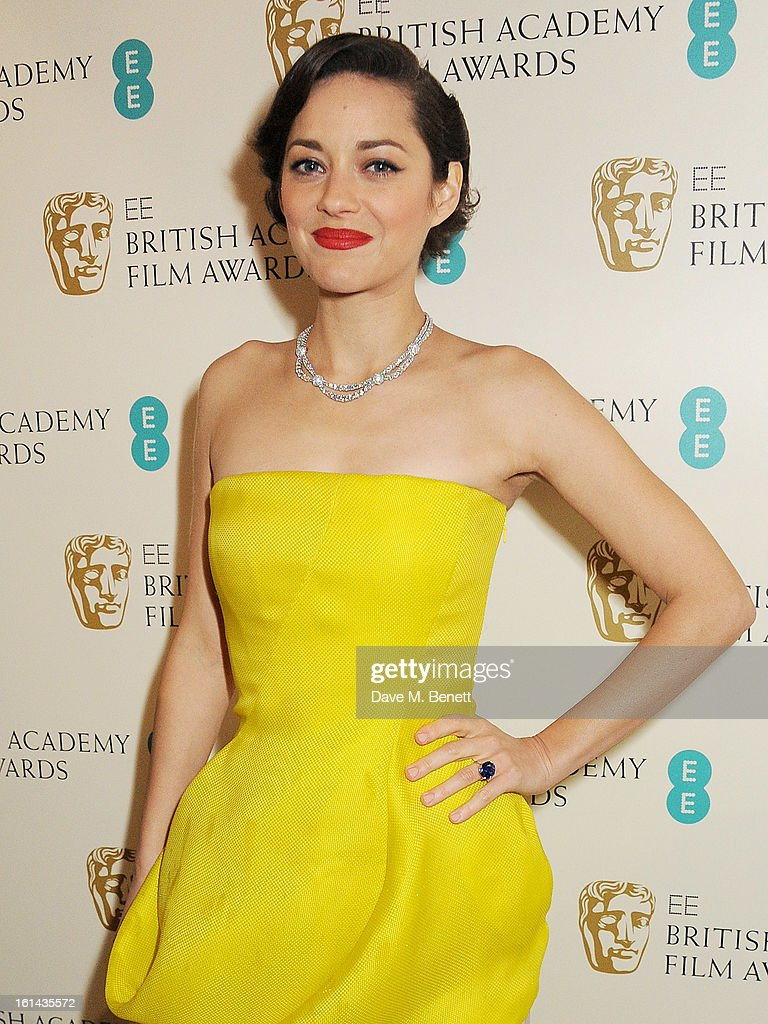 <a gi-track='captionPersonalityLinkClicked' href=/galleries/search?phrase=Marion+Cotillard&family=editorial&specificpeople=215303 ng-click='$event.stopPropagation()'>Marion Cotillard</a> arrives at the EE British Academy Film Awards at the Royal Opera House on February 10, 2013 in London, England.