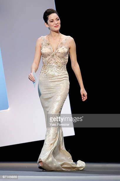 Marion Cotillard arrives onstage during the 35th Cesar Film Awards held at Theatre du Chatelet on February 27 2010 in Paris France