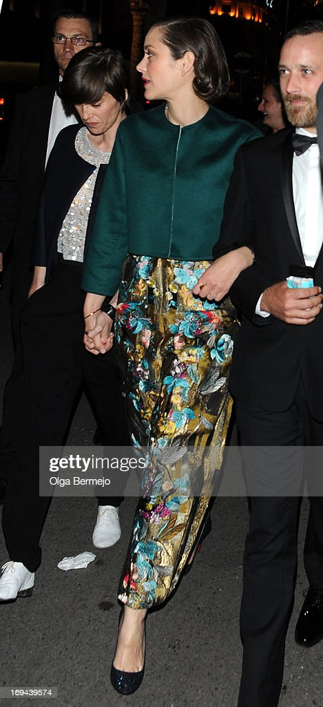 <a gi-track='captionPersonalityLinkClicked' href=/galleries/search?phrase=Marion+Cotillard&family=editorial&specificpeople=215303 ng-click='$event.stopPropagation()'>Marion Cotillard</a> arriving at Chiva House afterparty during the 66th Annual Cannes Film Festival on May 24, 2013 in Cannes, France.