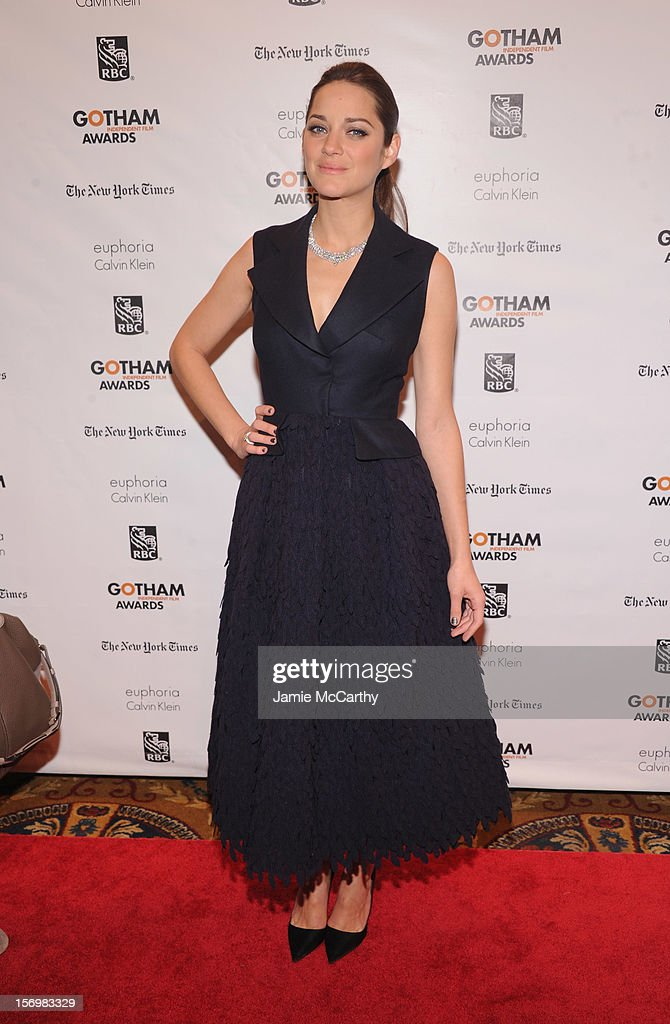 <a gi-track='captionPersonalityLinkClicked' href=/galleries/search?phrase=Marion+Cotillard&family=editorial&specificpeople=215303 ng-click='$event.stopPropagation()'>Marion Cotillard</a> attends the 22nd Annual Gotham Independent Film Awards at Cipriani Wall Street on November 26, 2012 in New York City.