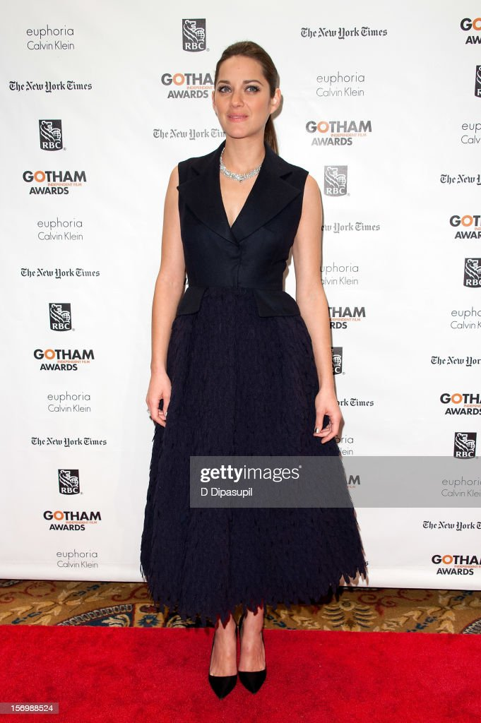 <a gi-track='captionPersonalityLinkClicked' href=/galleries/search?phrase=Marion+Cotillard&family=editorial&specificpeople=215303 ng-click='$event.stopPropagation()'>Marion Cotillard</a> attends the 22nd annual Gotham Independent Film awards at Cipriani, Wall Street on November 26, 2012 in New York City.