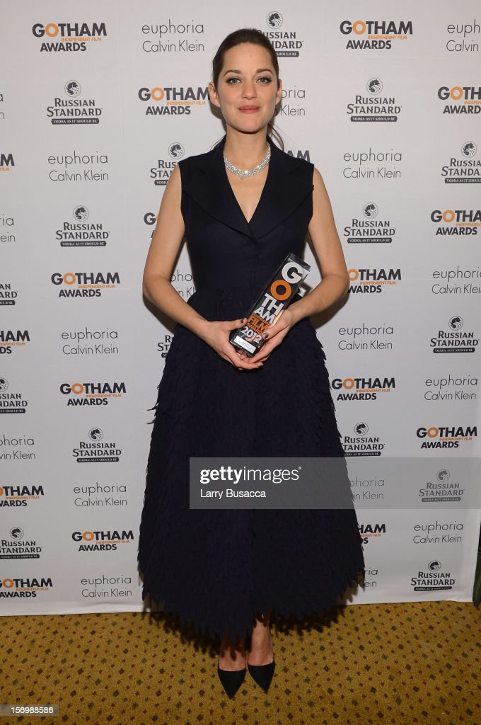 <a gi-track='captionPersonalityLinkClicked' href=/galleries/search?phrase=Marion+Cotillard&family=editorial&specificpeople=215303 ng-click='$event.stopPropagation()'>Marion Cotillard</a> attends the IFP's 22nd Annual Gotham Independent Film Awards at Cipriani Wall Street on November 26, 2012 in New York City.