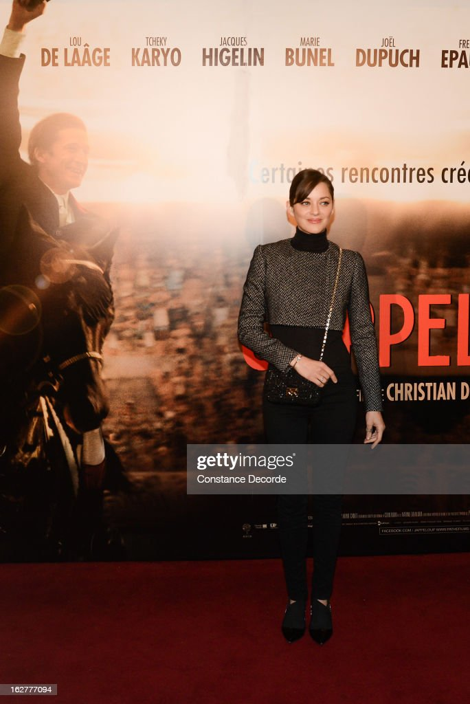 <a gi-track='captionPersonalityLinkClicked' href=/galleries/search?phrase=Marion+Cotillard&family=editorial&specificpeople=215303 ng-click='$event.stopPropagation()'>Marion Cotillard</a> attends the 'Jappeloup' premiere at Le Grand Rex on February 26, 2013 in Paris, France.