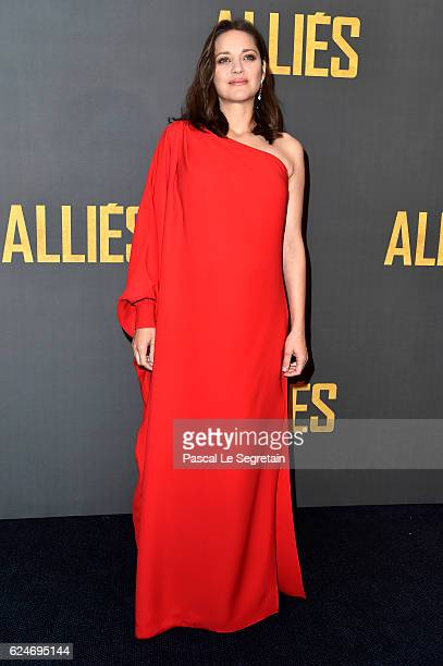 Marion Cotillard attends the Paris premiere of the Paramount pictures title 'Allied' on November 20 2016 at Cinema UGC Normandie on November 20 2016...