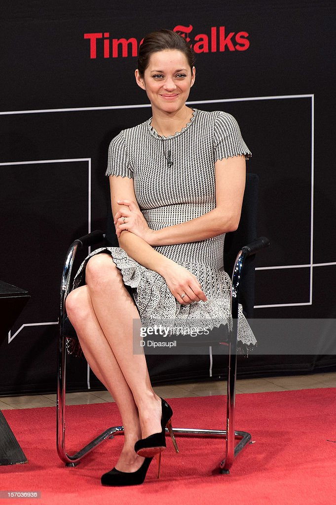 <a gi-track='captionPersonalityLinkClicked' href=/galleries/search?phrase=Marion+Cotillard&family=editorial&specificpeople=215303 ng-click='$event.stopPropagation()'>Marion Cotillard</a> attends TimesTalks presents A Conversation With <a gi-track='captionPersonalityLinkClicked' href=/galleries/search?phrase=Marion+Cotillard&family=editorial&specificpeople=215303 ng-click='$event.stopPropagation()'>Marion Cotillard</a> at The Times Center on November 27, 2012 in New York City.