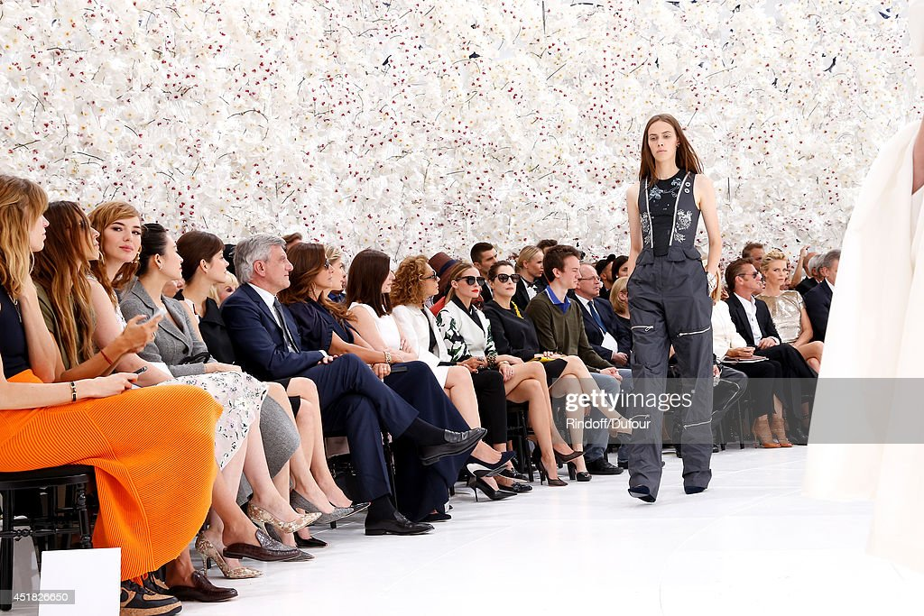 Marion Cotillard, CEO Dior Sidney Toledano, his wife Katia Toledano, Amira Casar, Sean Penn, Charlize Theron attend the Christian Dior show as part of Paris Fashion Week - Haute Couture Fall/Winter 2014-2015. Held at Musee Rodin on July 7, 2014 in Paris, France.