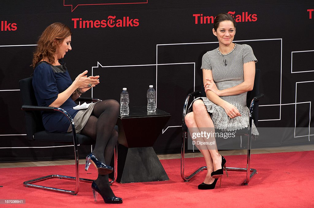 <a gi-track='captionPersonalityLinkClicked' href=/galleries/search?phrase=Marion+Cotillard&family=editorial&specificpeople=215303 ng-click='$event.stopPropagation()'>Marion Cotillard</a> (R) is interviewed by Melena Ryzik during TimesTalks presents A Conversation With <a gi-track='captionPersonalityLinkClicked' href=/galleries/search?phrase=Marion+Cotillard&family=editorial&specificpeople=215303 ng-click='$event.stopPropagation()'>Marion Cotillard</a> at The Times Center on November 27, 2012 in New York City.