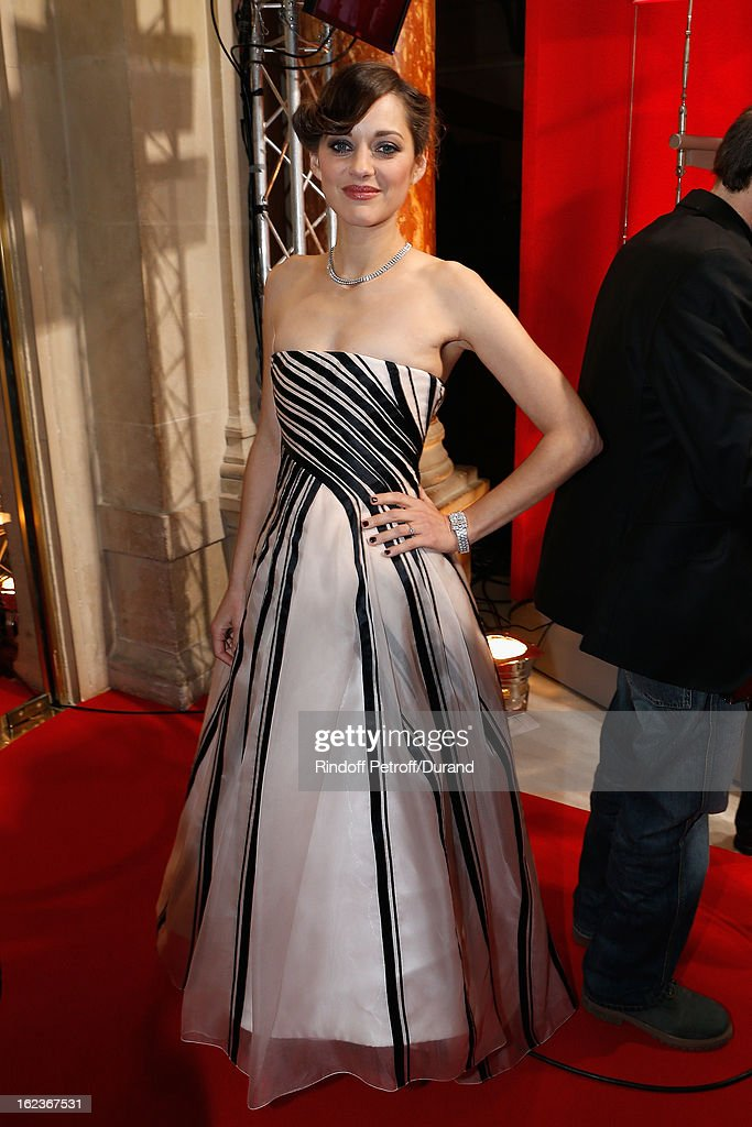 Marion Cotillard poses after she arrived to attend the Cesar Film Awards 2013 at Theatre du Chatelet on February 22, 2013 in Paris, France.