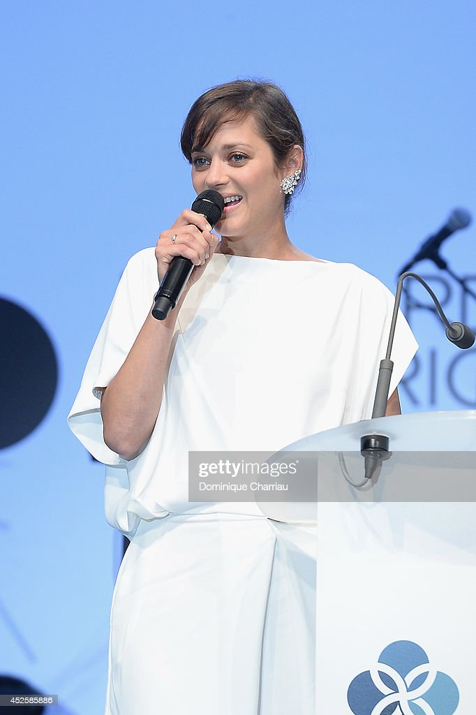 <a gi-track='captionPersonalityLinkClicked' href=/galleries/search?phrase=Marion+Cotillard&family=editorial&specificpeople=215303 ng-click='$event.stopPropagation()'>Marion Cotillard</a> speaks on stage during the Leonardo Dicaprio Foundation Launch at Domaine Bertaud Belieu on July 23, 2014 in Saint-Tropez, France.