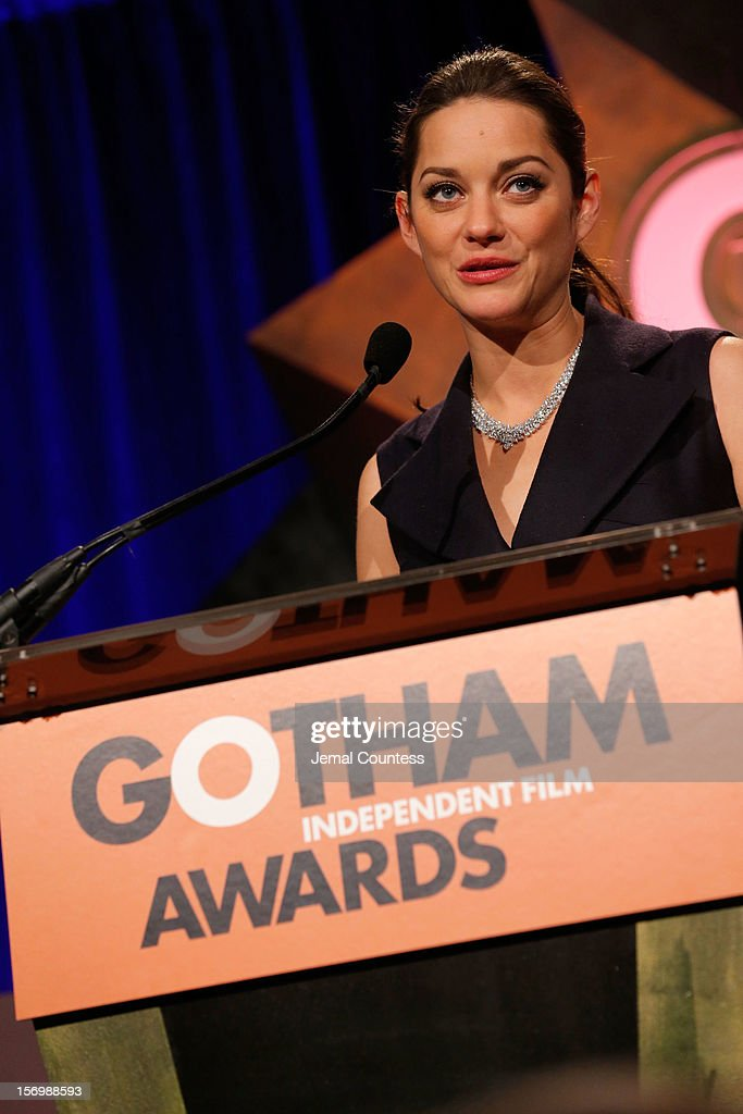 <a gi-track='captionPersonalityLinkClicked' href=/galleries/search?phrase=Marion+Cotillard&family=editorial&specificpeople=215303 ng-click='$event.stopPropagation()'>Marion Cotillard</a> speaks onstage at the IFP's 22nd Annual Gotham Independent Film Awards at Cipriani Wall Street on November 26, 2012 in New York City.