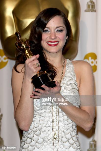 Marion Cotillard with the award for Best Actress in a Leading Role received for La Vie En Rose at the 80th Academy Awards at the Kodak Theatre Los...