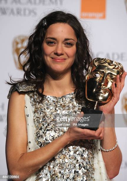 Marion Cotillard with the award for Best Actress recieved for Le Vie en Rose during the 2008 Orange British Academy Film Awards at the Royal Opera...