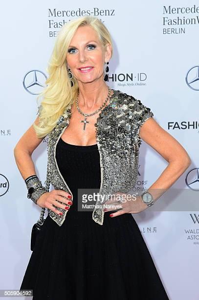Marion Fedder attends the Guido Maria Kretschmer show during the MercedesBenz Fashion Week Berlin Autumn/Winter 2016 at Brandenburg Gate on January...