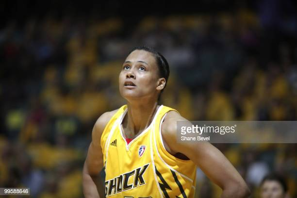 Marion Jones of the Tulsa Shock pauses to look at the scoreboard during the WNBA game between Minnesota Lynx and Tulsa Shock on May 15 2010 at the...