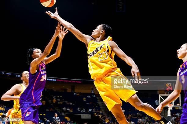 Marion Jones of the Tulsa Shock reaches for a rebound during the WNBA game on May 25 2010 at the BOK Center in Tulsa Oklahoma NOTE TO USER User...