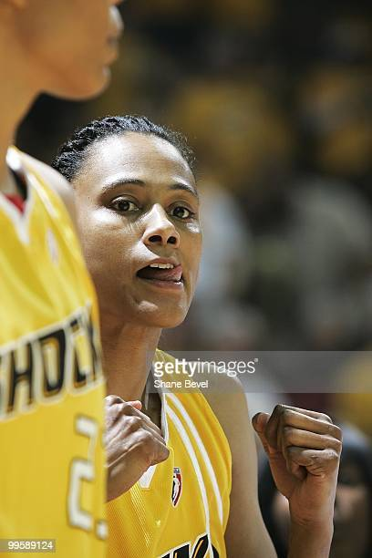 Marion Jones of the Tulsa Shock watches from the bench during the WNBA game between Minnesota Lynx and Tulsa Shock on May 15 2010 at the BOK Center...