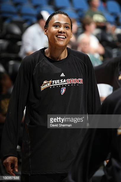 Marion Jones of Tulsa Shock warms up before the game against the Minnesota Lynx May 23 2010 at the Target Center in Minneapolis Minnesota NOTE TO...