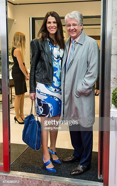 Marion Kiechle and commentator Marcel Reif pose during the visit of Crown Prince Frederik and Crown Princess Mary of Denmark who open the Danish...
