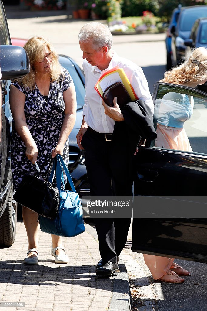 Marion Koch and Christoph Koch parents of Samuel Koch arrive for the wedding of their son and Sarah Elena Timpe at the local church on August 27 2016...