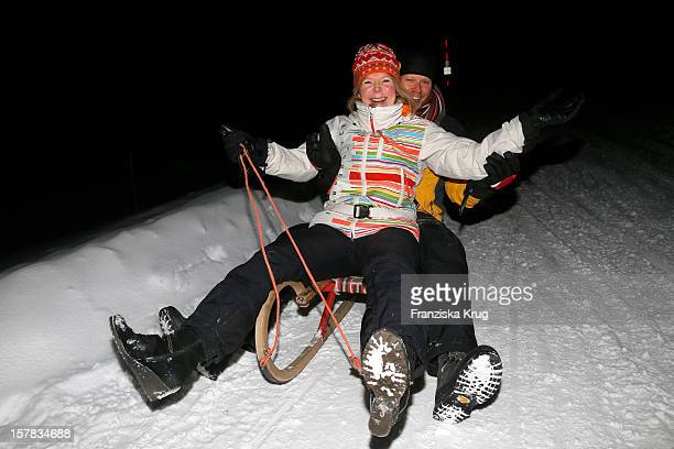 Marion Kracht and Berthold Manns attend the Tirol Cross Mountain Snowshoe Hiking and Slide Tour on December 06 in Kuehtai Austria