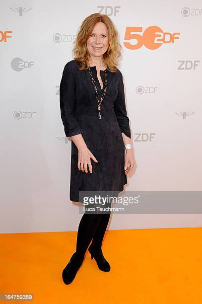 Marion Kracht poses on March 27 2013 after a taping of one of the segments of the television program '50 Jahre ZDF' in Berlin Germany The television...
