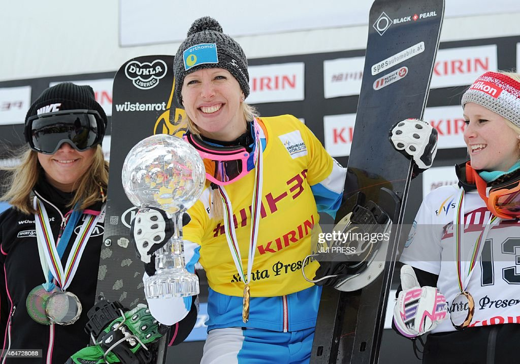 <a gi-track='captionPersonalityLinkClicked' href=/galleries/search?phrase=Marion+Kreiner&family=editorial&specificpeople=3071138 ng-click='$event.stopPropagation()'>Marion Kreiner</a> (C) of Austria holds the trophy during the awards ceremony after winning the women's parallel giant slalom event of the Snowboard World Cup in Asahikawa, northern Japan, on February 28, 2015. Kreiner got the overall title of the event. AFP PHOTO/Jiji Press JAPAN OUT