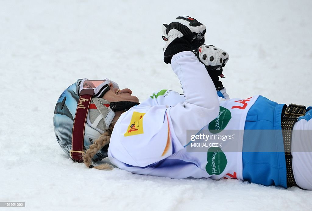<a gi-track='captionPersonalityLinkClicked' href=/galleries/search?phrase=Marion+Kreiner&family=editorial&specificpeople=3071138 ng-click='$event.stopPropagation()'>Marion Kreiner</a> of Austria reacts after placing third in the Women's Snowboard Parallel Slalom Finals at the FIS Freestyle and Snowboarding World Ski Championships 2015 in Lachtal near Kreischberg, Austria on January 22, 2015.