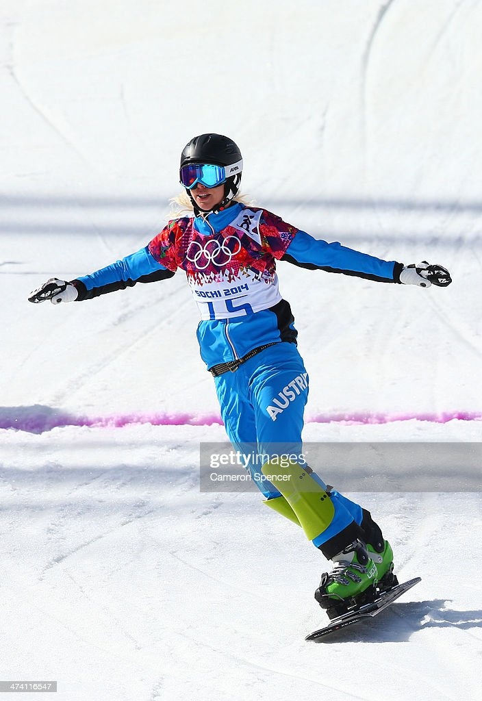 <a gi-track='captionPersonalityLinkClicked' href=/galleries/search?phrase=Marion+Kreiner&family=editorial&specificpeople=3071138 ng-click='$event.stopPropagation()'>Marion Kreiner</a> of Austria reacts in the Snowboard Ladies' Parallel Slalom Quarterfinals on day 15 of the 2014 Winter Olympics at Rosa Khutor Extreme Park on February 22, 2014 in Sochi, Russia.