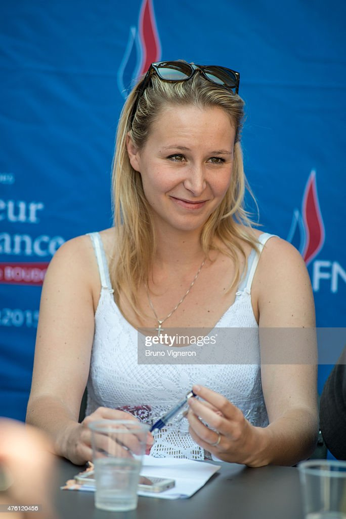 Marion Marechal Le Pen National Front (FN) Deputy of Vaucluse (France) in Ars-sur-Formans, to attend the kick-off of National Front electoral campaign for presidence of Rhone-Alps Auvergne Regional Council. She came to support Christophe Boudot, local candidate for these elections, on June 6, 2015 in Ars, France.