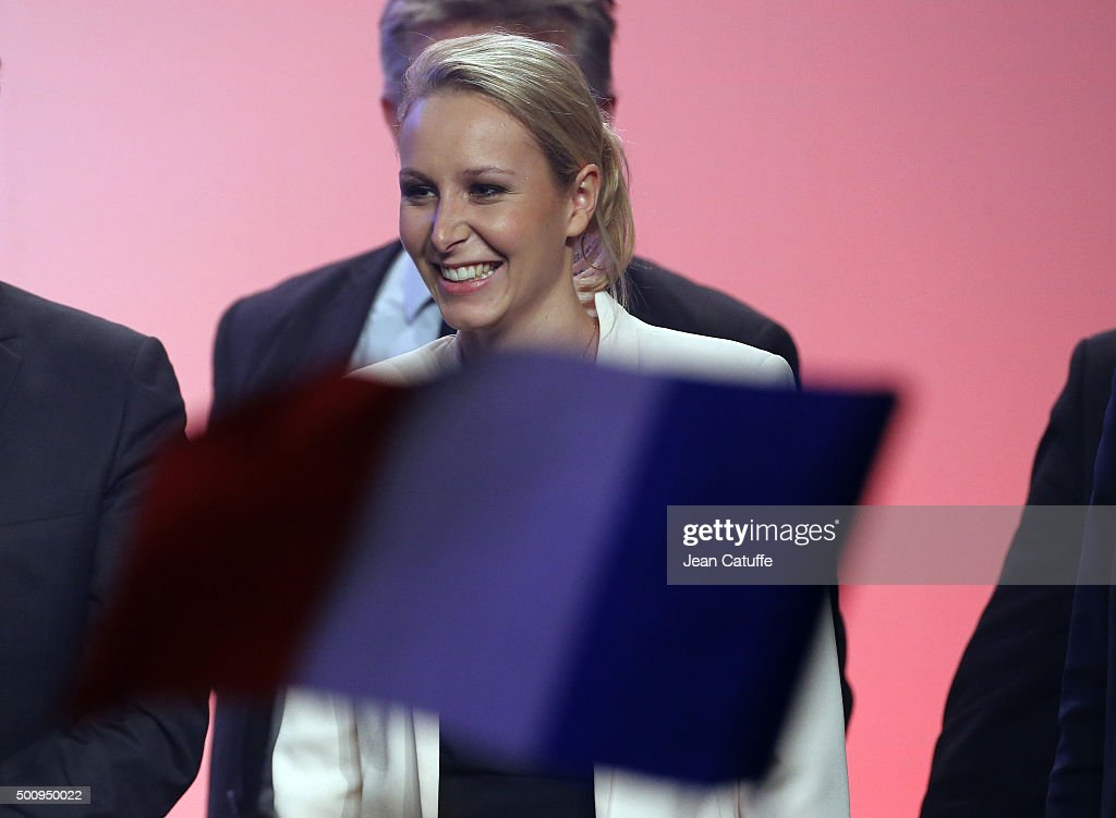 Marion Marechal Le Pen, regional candidate in Provence-Alpes-Cote d'Azur (PACA) attends the FN meeting for regional elections at Salle Wagram on December 10, 2015 in Paris, France.