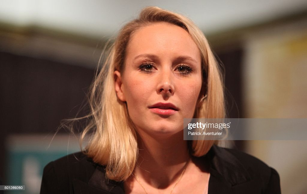 Marion Marechal Le Pen vice-president of the French far-right Front National (FN) party and candidate for the regional elections in the Provence-Alpes-Cote d'Azur (PACA) region gestures after annoucement of the results on December 13, 2015 in Marseille, France.Marion Marechal Le Pen lose the second round of the regional election.