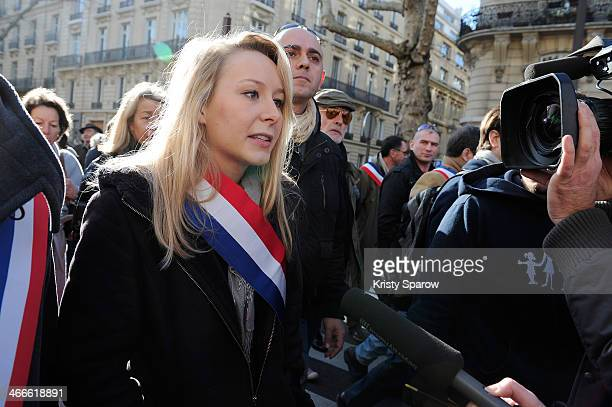 Marion MarechalLe Pen attends the protest march 'La Manif Pour Tous' on February 2 2014 in Paris France Parisian Police expected over 100000...