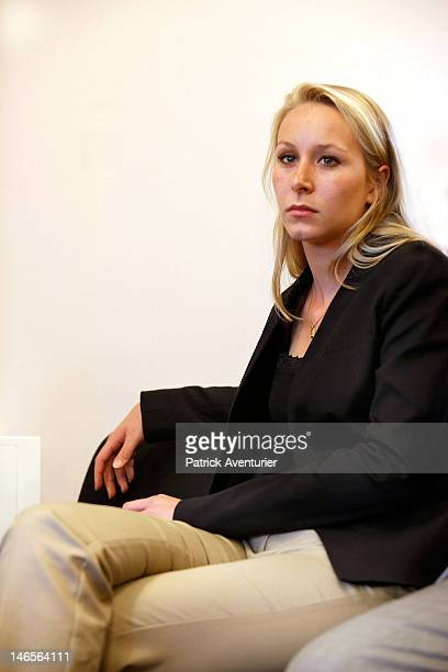 Marion MarechalLe Pen looks on during the press conference of the National Front on June 19 2012 in Paris France MarechalLe Pen 22yearsold is the...