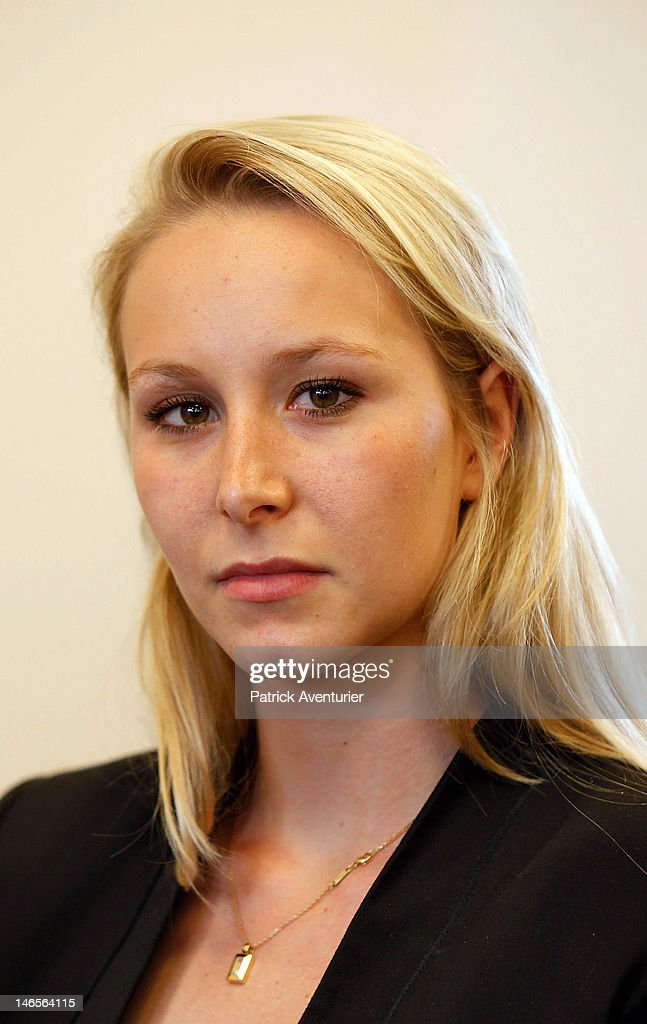 <a gi-track='captionPersonalityLinkClicked' href=/galleries/search?phrase=Marion+Marechal-Le+Pen&family=editorial&specificpeople=6562007 ng-click='$event.stopPropagation()'>Marion Marechal-Le Pen</a> looks on during the press conference of the National Front on June 19, 2012 in Paris, France. Marechal-Le Pen, 22-years-old, is the youngest elected to the Assembly of the entire Fith Republic and chlinches one of two seats for the far-Right National Front for the National Front for the first time since 1997.