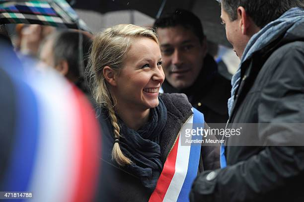 Marion MarechalLe Pen member of the Front National and Spokesman for Vaucluse's 3rd constituency walks with the crowd during the party's annual rally...