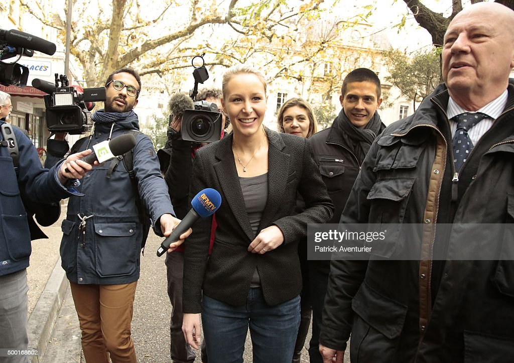 <a gi-track='captionPersonalityLinkClicked' href=/galleries/search?phrase=Marion+Marechal-Le+Pen&family=editorial&specificpeople=6562007 ng-click='$event.stopPropagation()'>Marion Marechal-Le Pen</a> vice President of the French far-right Front National (FN) party and candidate for the regional elections in the Provence-Alpes-Cote d'Azur (PACA) region speaks to the press as she leaves a polling station on December 6, 2015 in Carpentras, France. Voting is under way in France's regional elections, which are being held under a continued state of emergency following the Paris terror attacks.