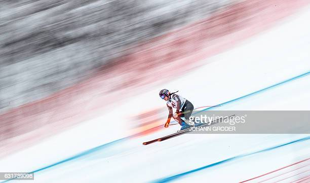Marion Pellissier of France competes during the women's downhill race of the FIS Alpine Skiing World Cup in Zauchensee Austria on January 15 2017 /...