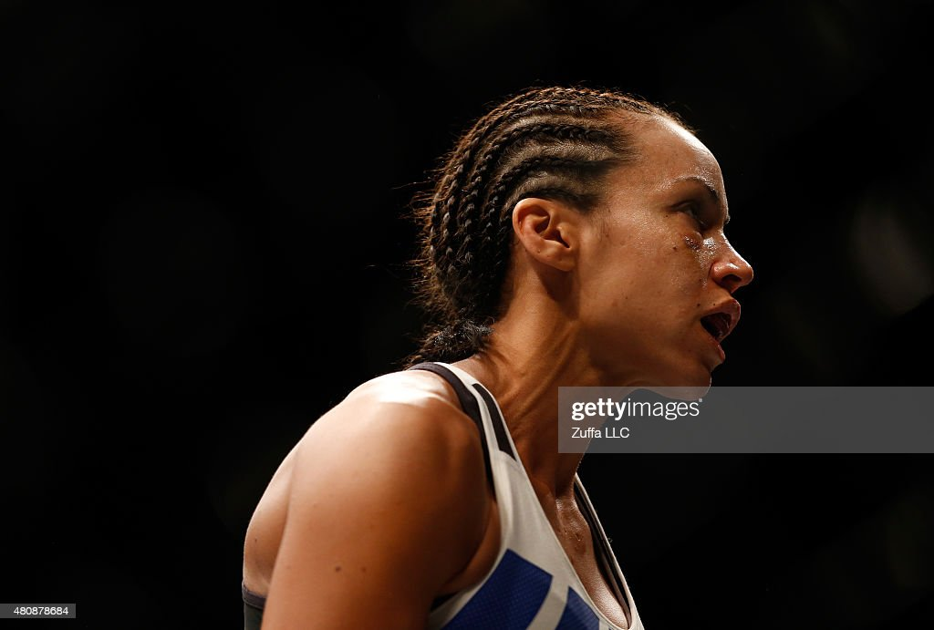 Marion Reneau enters the Octagon before facing Holly Holm in their women's bantamweight bout during the UFC event at the Valley View Casino Center on July 15, 2015 in San Diego, California.