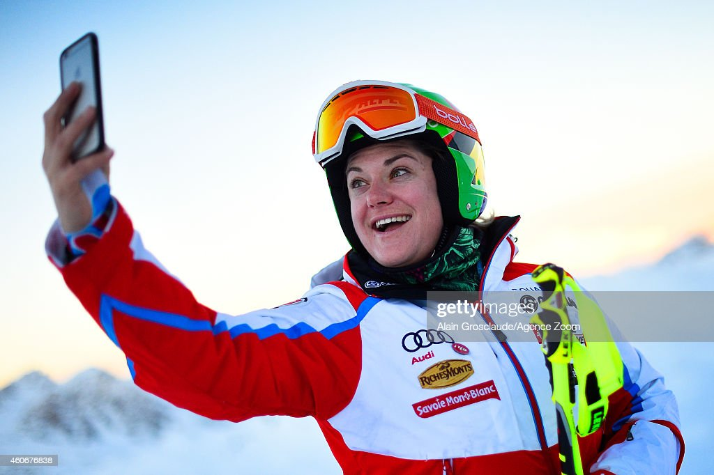 <a gi-track='captionPersonalityLinkClicked' href=/galleries/search?phrase=Marion+Rolland&family=editorial&specificpeople=2085752 ng-click='$event.stopPropagation()'>Marion Rolland</a> of France before the start during the Audi FIS Alpine Ski World Cup Women's Downhill Training on December 19, 2014 in Val D'isere, France.